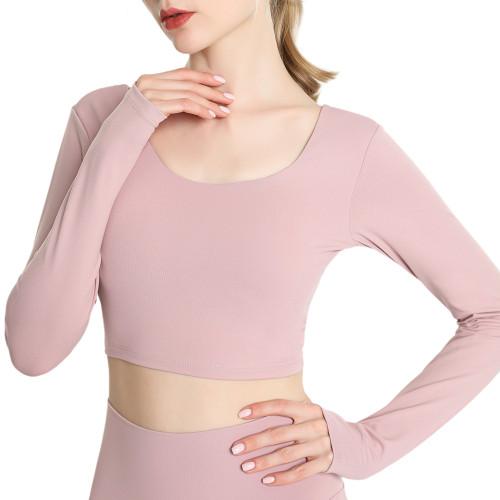 Pink Taupe Back Crisscross Long Sleeve Yoga Tees TQE24062-87