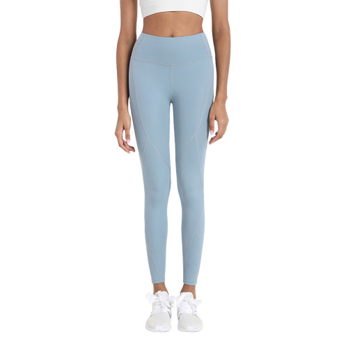 Rippling Blue High Waist Hip Lifting Fitness Pants with Brushed Pockets TQE64063-201