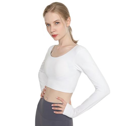 White Back Crisscross Long Sleeve Yoga Tees TQE24062-1