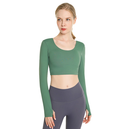 Forest Green Back Crisscross Long Sleeve Yoga Tees TQE24062-71