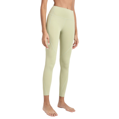 Jasmine Green High Waist Hip Lifting Fitness Pants with Brushed Pockets TQE64063-204