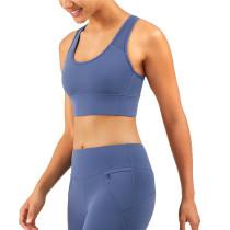 Ink Blue Breathable Mesh Wide Shoulder Sports Yoga vest TQE17064-81