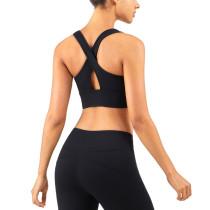 Black Breathable Mesh Wide Shoulder Sports Yoga vest TQE17064-2