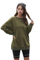 Green Crew Neck Drop-shoulder Long Sleeve Pullover Sweatshirt LC2534274-109