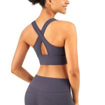 Ash Purple Breathable Mesh Wide Shoulder Sports Yoga vest TQE17064-88