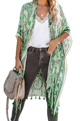 Green Boho Paisley Print Kimono Beach Cover up with Tassel LC254324-9