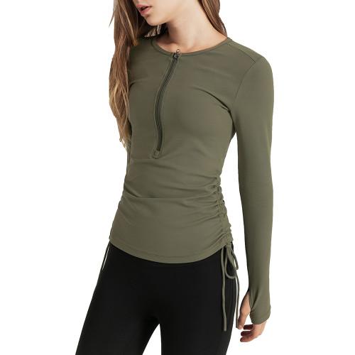 Moss Green Half Zipper Side Drawstring Long Sleeve Sports Top TQE14065-203