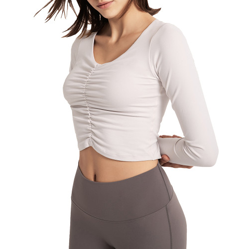 White Pleated Sports Long Sleeve Crop Top TQE14067-1