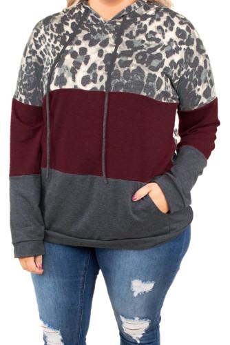 Leopard Print Colorblock Mix Plus Size Hoodie LC253674-3