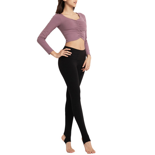Purple Pleated Sports Long Sleeve Crop Top TQE14067-8