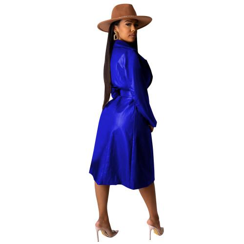 Sapphire Blue Turndown Collar Tie Waist PU Trench Coat TQK280083-62