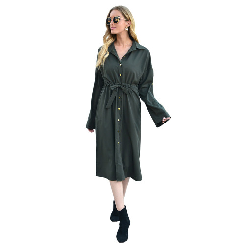 Dark Green Turndown Collar Tie Waist Shirt Dress TQK310424-36
