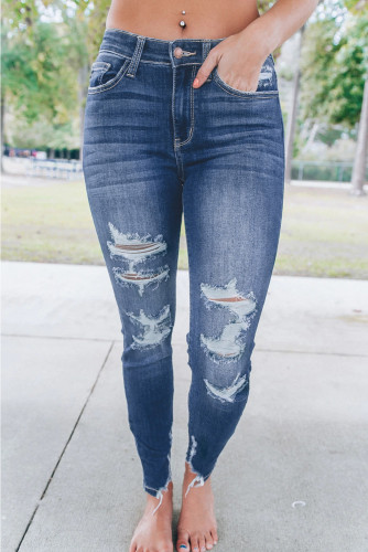 Blue Medium Wash High Rise Distressed Skinny Jeans LC78600-5
