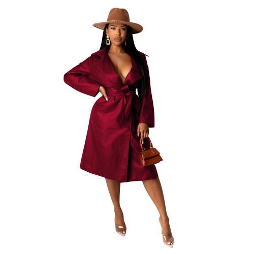Wine Red Turndown Collar Tie Waist PU Trench Coat TQK280083-103