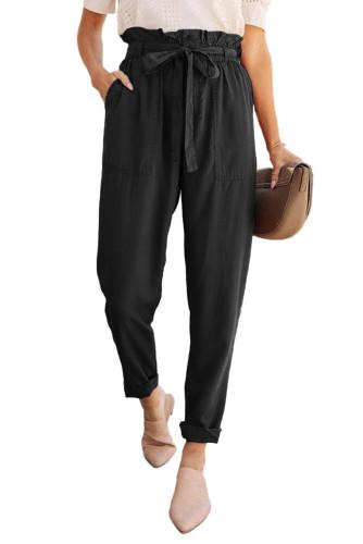 Black Paper Bag Elastic Waistband Casual Pants LC771037-2