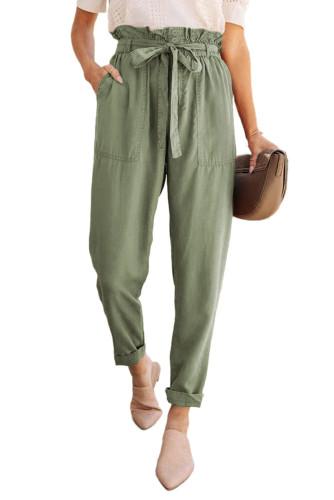 Green Paper Bag Elastic Waistband Casual Pants LC771037-9