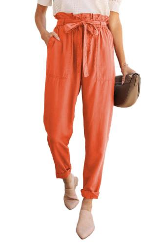 Orange Paper Bag Elastic Waistband Casual Pants LC771037-14