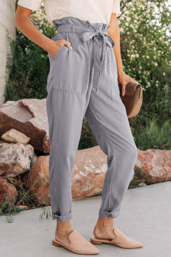 Gray Paper Bag Elastic Waistband Casual Pants LC771037-11
