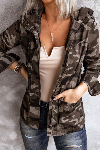 Camouflage Stand Neck Zipper Snaps Jacket LC851494-9