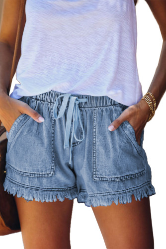 Sky Blue Casual Pocketed Frayed Denim Shorts LC77959-4