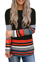 Colorful Striped Splicing Long Sleeve Top LC2512921-2
