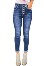 Blue High Rise Skinny Button Fly Jeans LC78496-5