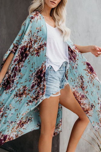 Sky Blue Floral Kimono Sleeves Chiffon Loose Beach Cover Up LC254327-4