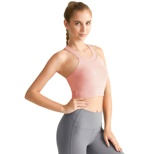 Pink Hollow Out Open Back Sports Yoga vest TQE19069-10