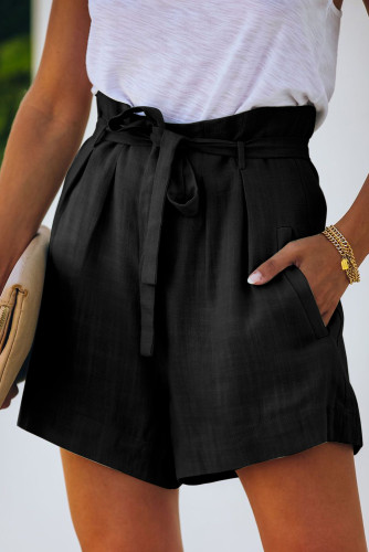 Black Tie Waist Casual Shorts with Pockets LC77972-2