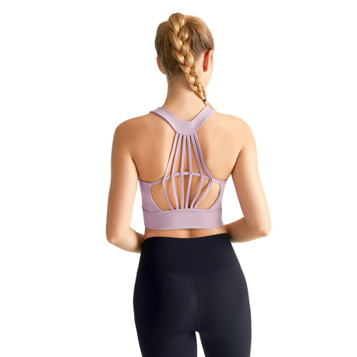 Pink Taupe Hollow Out Open Back Sports Yoga vest TQE19069-87