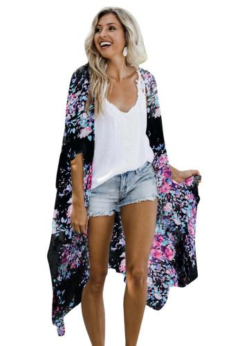 Black Floral Kimono Sleeves Chiffon Loose Beach Cover Up LC254327-2