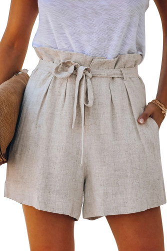 Beige Tie Waist Casual Shorts with Pockets LC77972-15