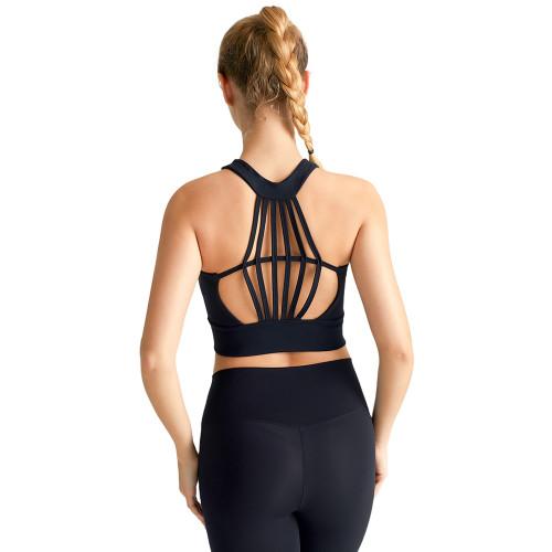 Black Hollow Out Open Back Sports Yoga vest TQE19069-2
