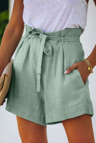 Green Tie Waist Casual Shorts with Pockets LC77972-9