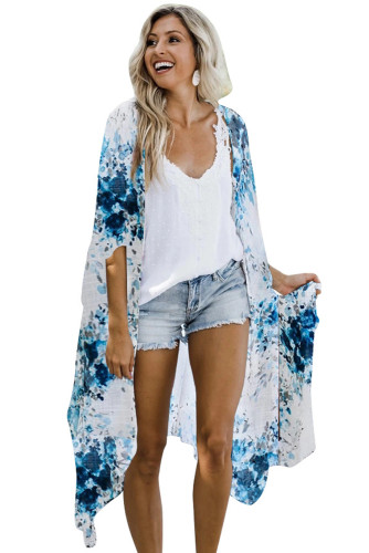 Blue Floral Kimono Sleeves Chiffon Loose Beach Cover Up LC254327-5