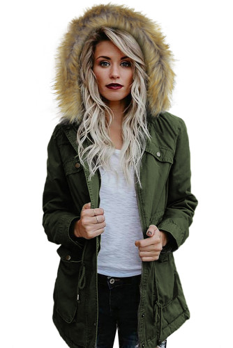 Green Zipper Snaps Pocket Plush Hooded Parka Jacket LC851392-9
