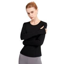 Black Mesh Quick Drying Long Sleeve Sports Top TQE19070-2