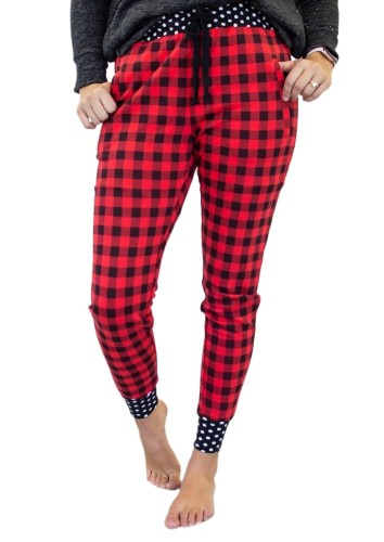 Red Plaid Print Polka Dot Splicing Drawstring Pants LC77985-3