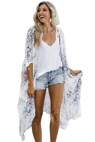 White Floral Kimono Sleeves Chiffon Loose Beach Cover Up LC254327-1