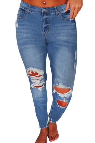 Raw Cut Frayed Hem Medium Wash Jeans LC78291-5