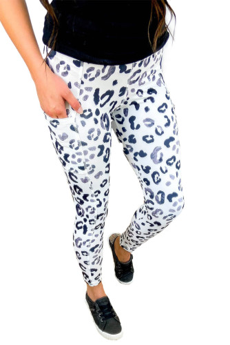 White Blue Leopard Pocketed Athletic Leggings LC76131-1