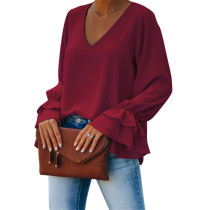 Wine Red V Neck Loose Style Flared Long Sleeve Tops TQK210562-103