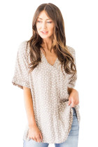Apricot Chloe Animal Print V-neck Rolled Sleeve Tunic Top LC2514137-18