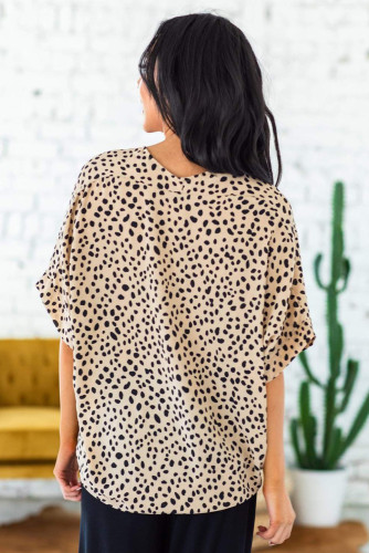 Brown Chloe Animal Print V-neck Rolled Sleeve Tunic Top LC2514137-17