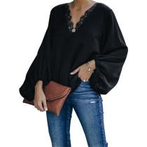 Black Splice Lace V Neck Lantern Long Sleeve Tops TQK210563-2