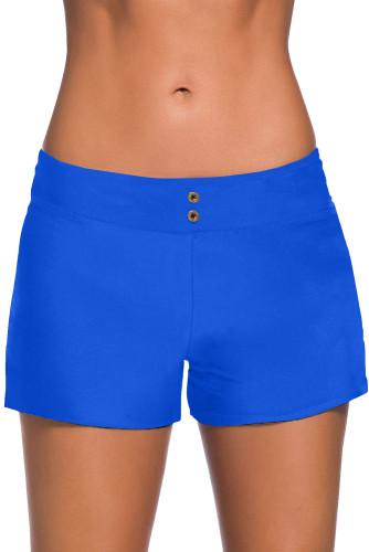 Blue Eyelets Waistband Swim Boyshorts LC472023-5