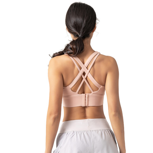 Pink Adjustable Back Buckle Sexy V Collar Running Yoga Bra TQE19075-10