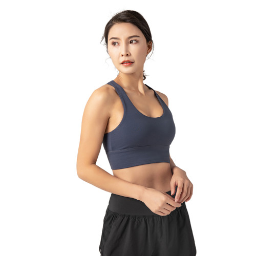 Blue Adjustable Back Buckle Sexy V Collar Running Yoga Bra TQE19075-5