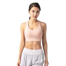 Pink Adjustable Back Buckle Sexy V Collar Running Yoga Bra TQE19075-10