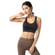 Black Adjustable Back Buckle Sexy V Collar Running Yoga Bra TQE19075-2